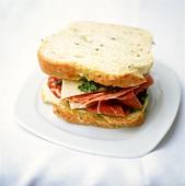 Italian sandwich with ham, salami, Parmesan and pesto