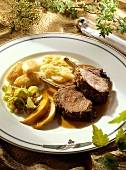 Loin of wild boar with scorzonera gratin & potato noodles