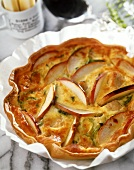 Chicken and leek tart with apples and Cheddar cheese