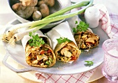 Wraps with sprout and mushroom filling and spring onions