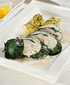 Trout and chard rolls with parsley potatoes