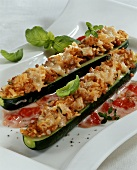 Zucchini ripieni (Courgettes with mince and rice stuffing)