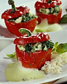 Red pepper with spinach and monkfish stuffing and rice