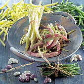 Bean still life with scarlet runner beans, yellow & green beans