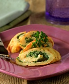 Omelette rolls with herb soft cheese