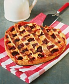 Heart-shaped cherry tart