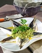 Sarde in salsetta (Sardines with herb sauce, Italy)