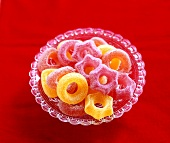 Christmassy jelly sweets in a glass bowl