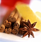 Cinnamon, star anise, lemon rind (spices for mulled wine or Xmas)