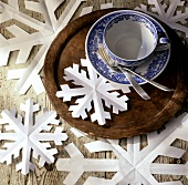 Paper snow flakes as winter decoration
