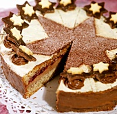 Christmassy nut cake, a piece cut