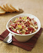 Bean salad with chicory, radicchio and olives