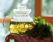 Peppermint tea and fresh mint leaves