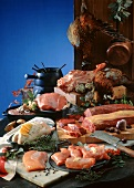 Still life with different kinds of meat and poultry