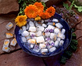 Ice cubes with edible flowers and herbs frozen in
