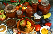 Tomato sauces and chutneys in jars; spices; ingredients