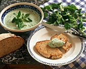 Bread and herb dip with corn salad