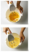 Beating egg yolk with sugar until foamy
