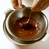 Melting chocolate over bain-marie