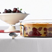 French cherry pudding in a glass dish