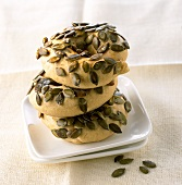 Pumpkin seed rings made with wholemeal flour