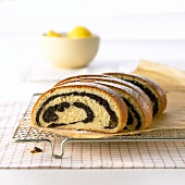 Poppy seed strudel, sliced