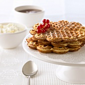 'Sand waffles', garnished with redcurrants