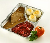Rheinischer Sauerbraten with dumplings & red cabbage