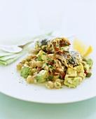 Fish rolls on avocado and chick-pea salad