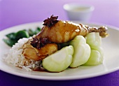 Chicken with star anise, soy sauce, pak choi and rice