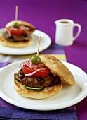 Lamb burger with olives