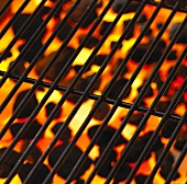 Barbecue rack with glowing charcoal