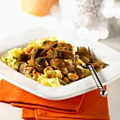 Beef stroganoff on ribbon pasta