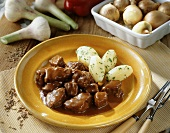 Hungarian goulash with boiled potatoes