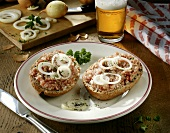 Bread roll topped with minced pork