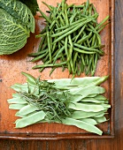 Broad beans, tarragon, French beans and savoy