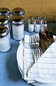 Cutlery in kitchen cloth, sugar shakers and salt shakers