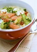 Salmon soup with leeks