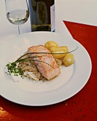 Salmon on Riesling sauerkraut with buttered potatoes