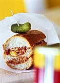 Corned beef and gherkin in baguette