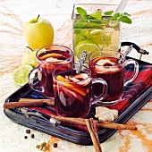 Red wine punch and hot lime drink