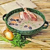 Hungarian bean soup with knuckle of pork