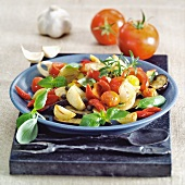 Aubergine and tomato salad with garlic