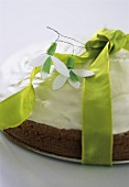 Chocolate cream cake with green bow