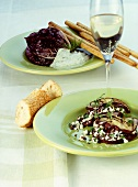 Aubergine slices with feta, grilled radicchio with Gorgonzola