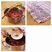 Erdbeer-Rhabarber-Konfitüre einkochen