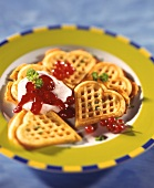 Savoury cheese waffles with redcurrant jelly