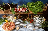 Still life with fish, seafood, herbs and vegetables