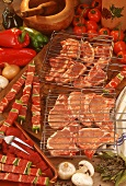 Barbecue ingredients: chops, meat kebabs, vegetables