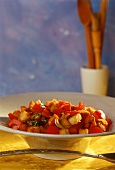 Pepper and tomato salad with croutons